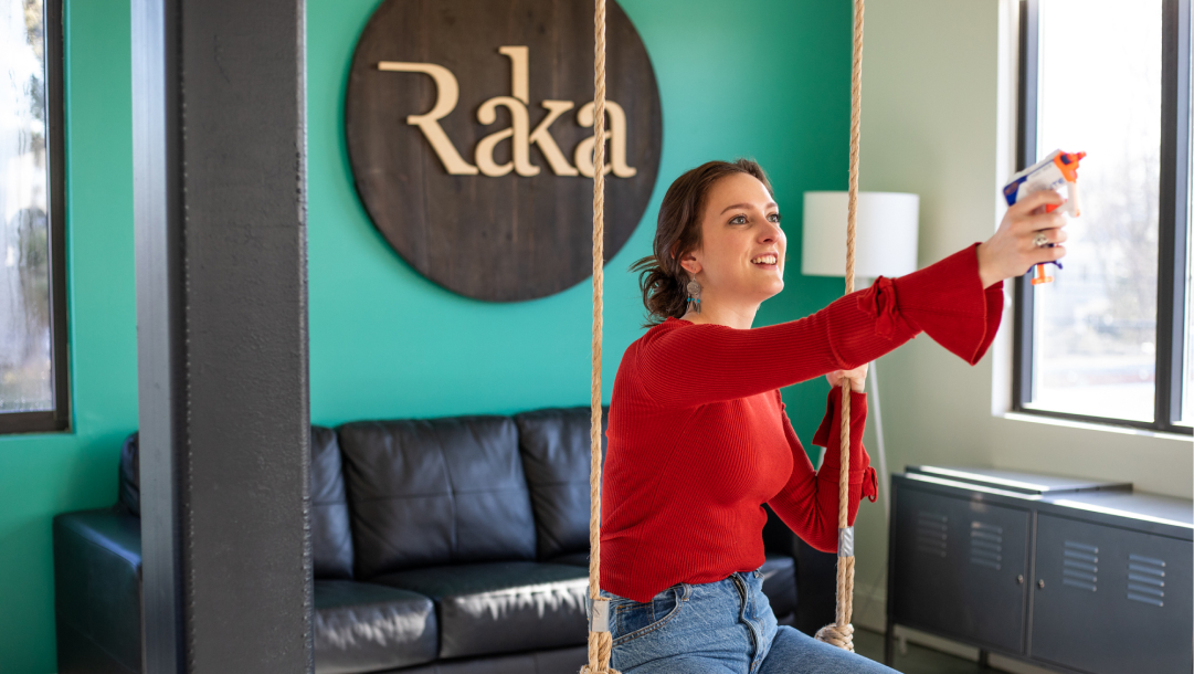 Raka Office with Gabrielle on Swing