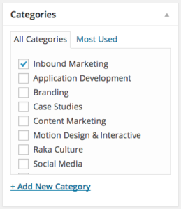 Keyword Optimized Blog Categories