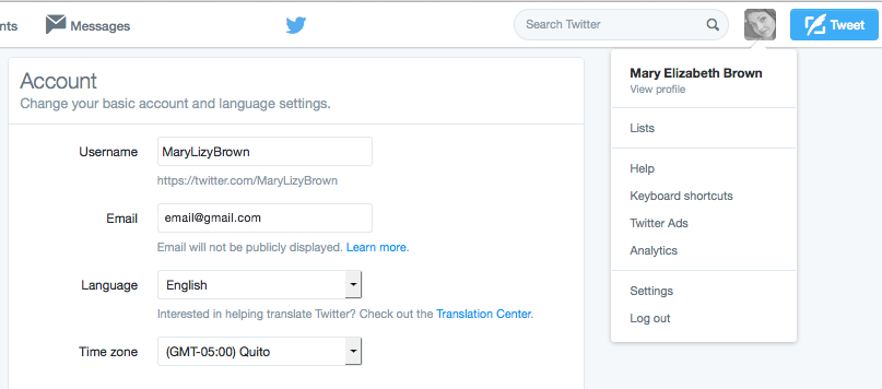 Twitter account settings