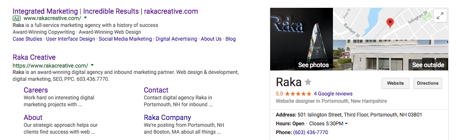 Raka Google My Business listing