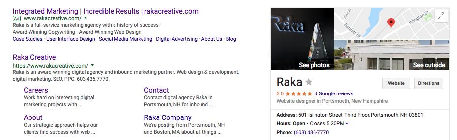 Raka Google My Business listing