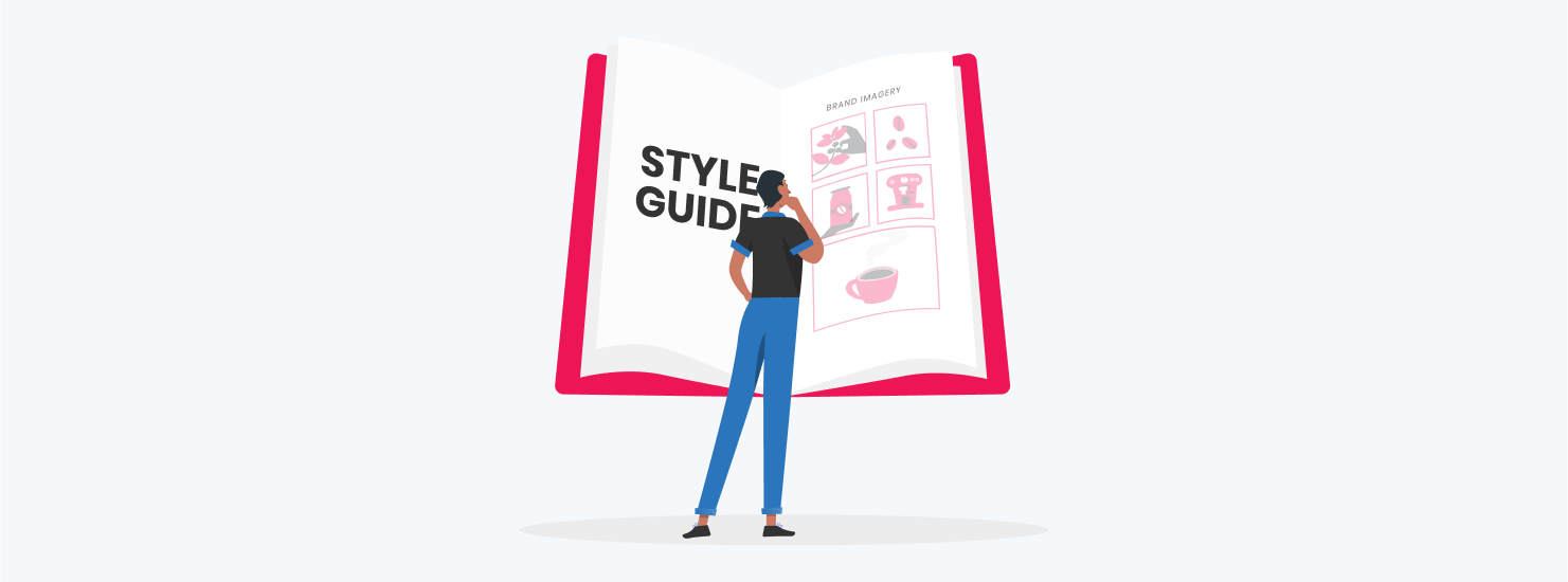 man looking at design style guide