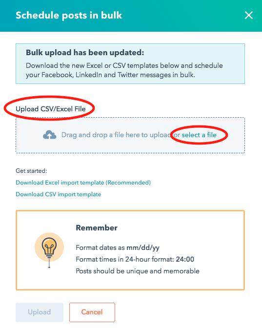 HubSpot csv uploads
