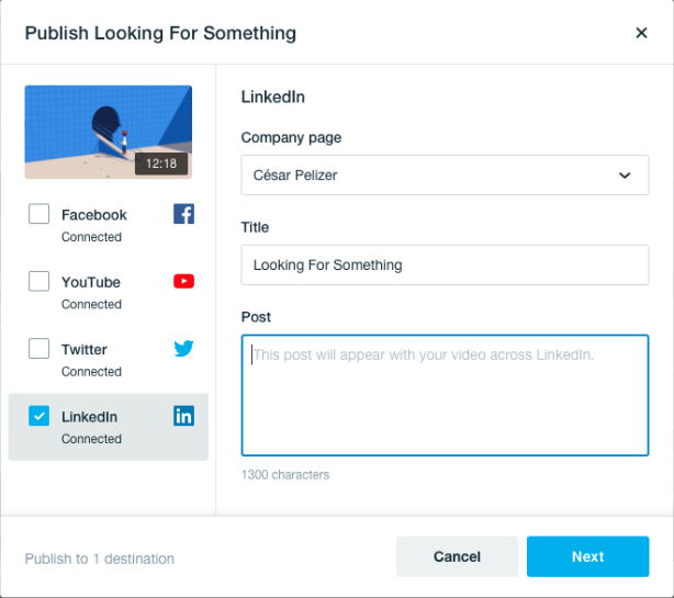 LinkedIn Vimeo Integration