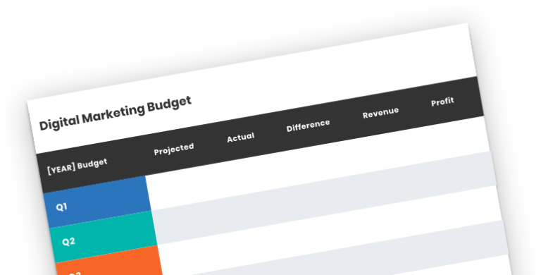 Digital Marketing Budget Template Resource