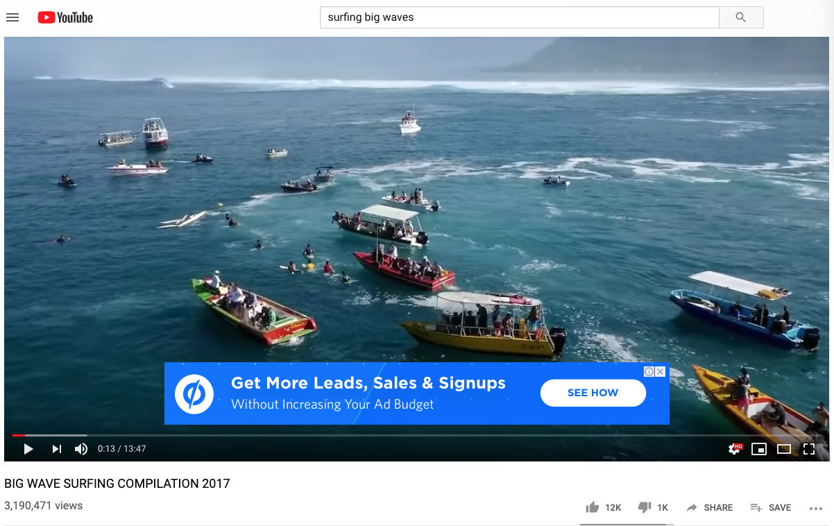 surfing video YouTube ads