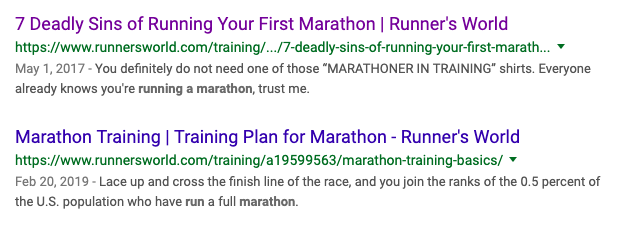 Running a marathon search results