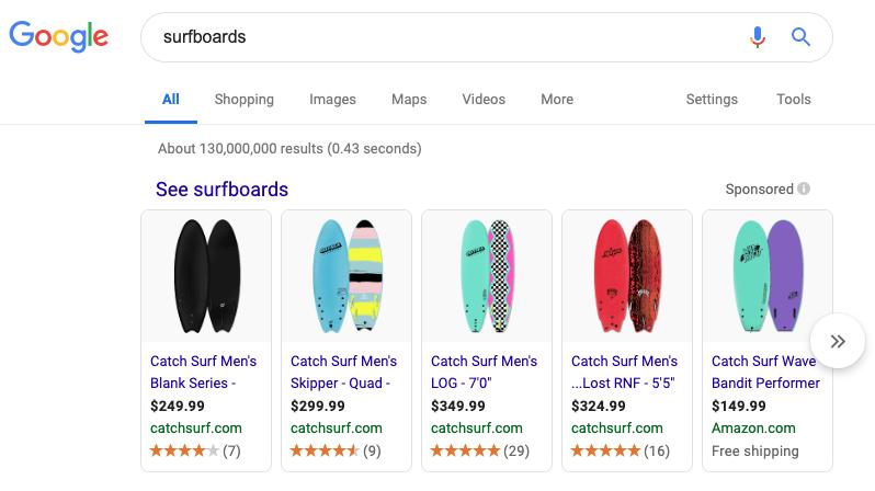 surfboards in a SERP