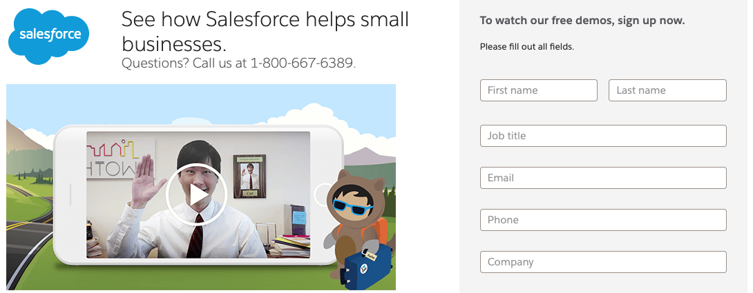 video for lead generation Salesforce demo