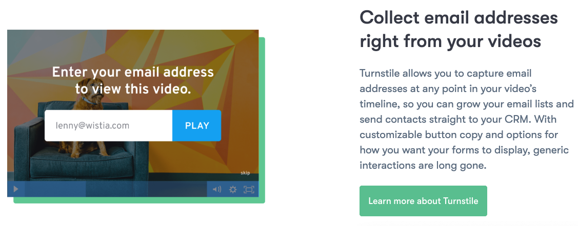 Wistia embedd CTA video for lead generation