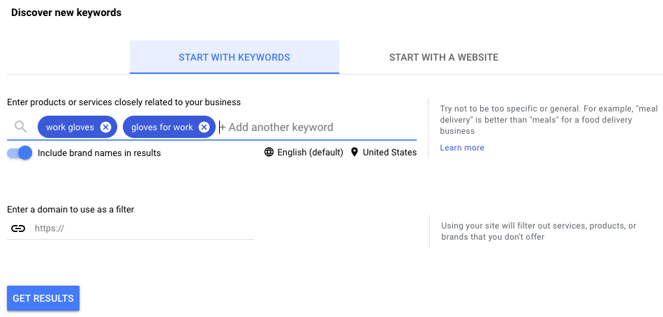 Google Keyword Ideas Output