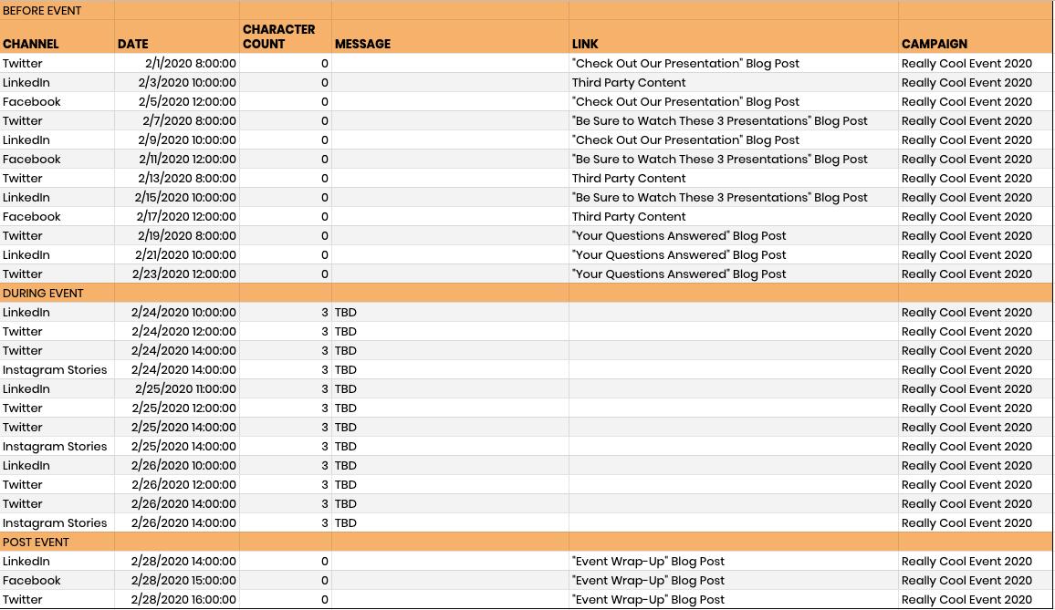 Event Marketing Social Media Calendar Template