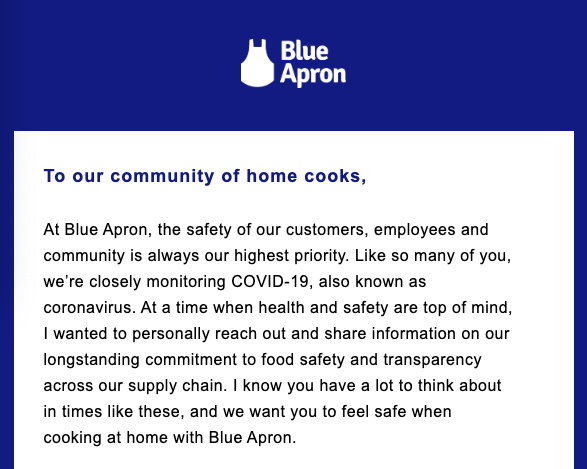 Blue apron email to customers about covid-19