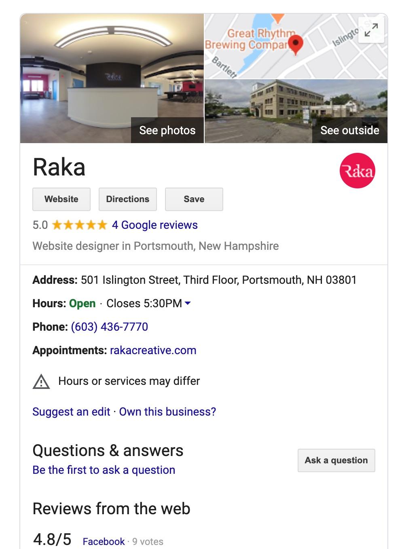 Google SERP Knowledge Graph Showing Raka