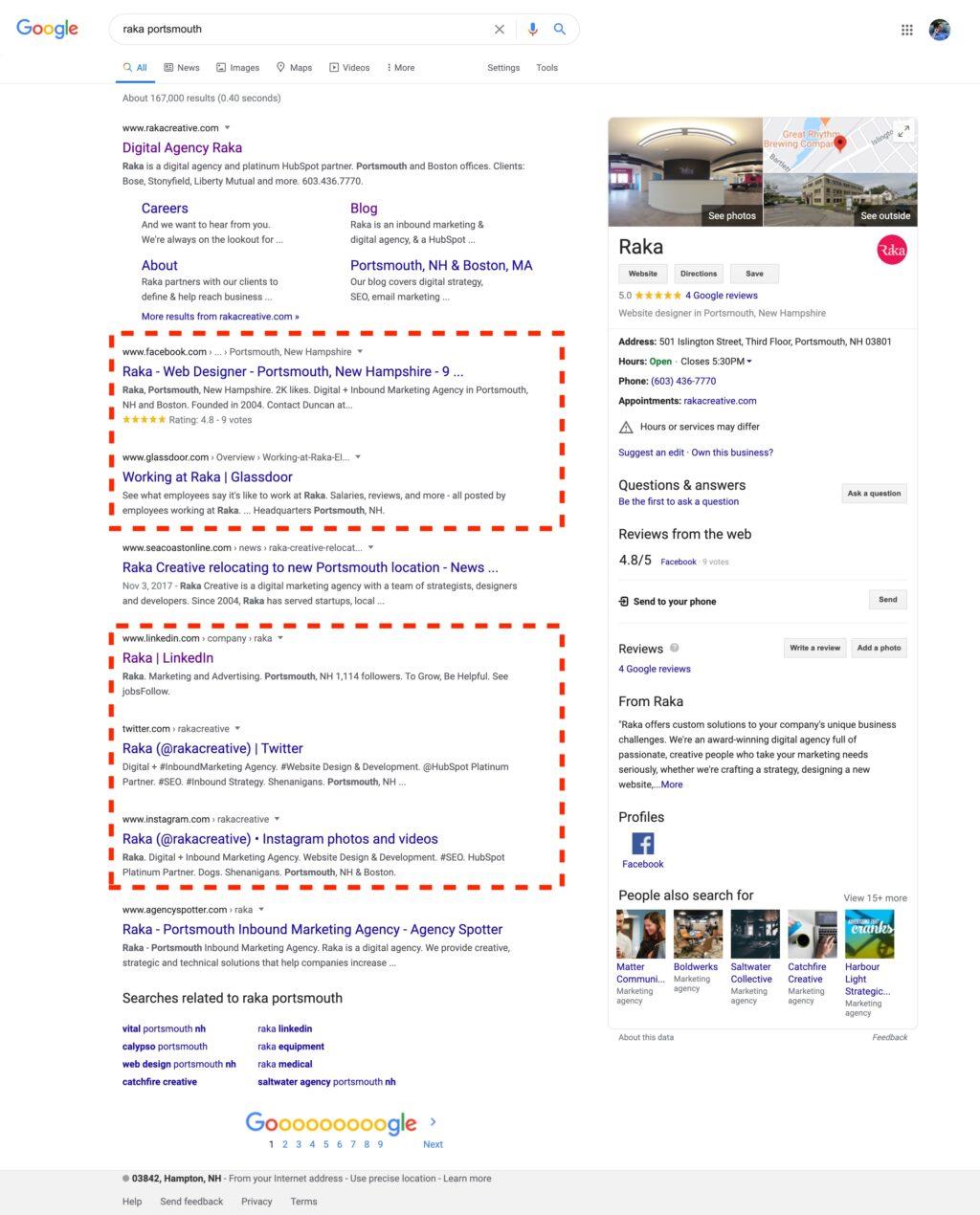 Google SERP showing social media listings for Raka
