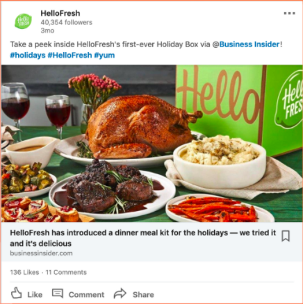 HelloFresh promoted content LinkedIn partner ad