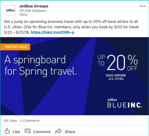 JetBlue promotional ad on LinkedIn