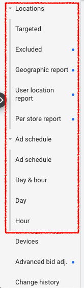 Google Ads Location and Ad Schedule tools