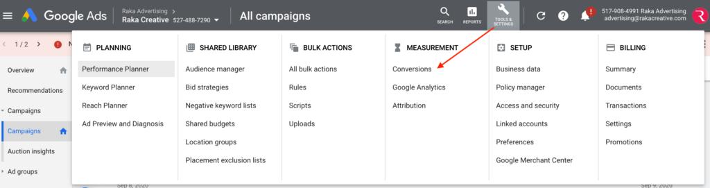 Conversions Menu in Google Ads