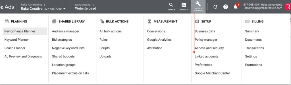 Google Ads Linked Accounts Menu