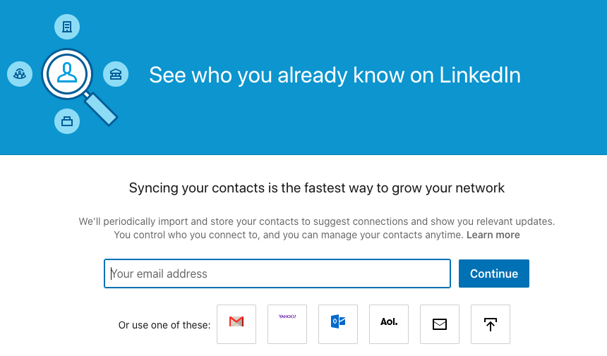 linkedin import contact page