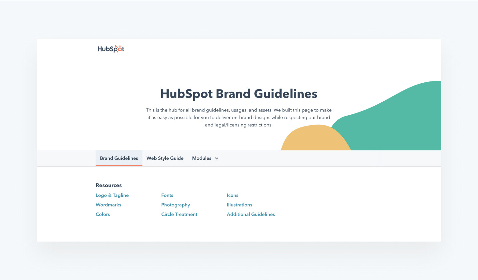 style guide example from HubSpot