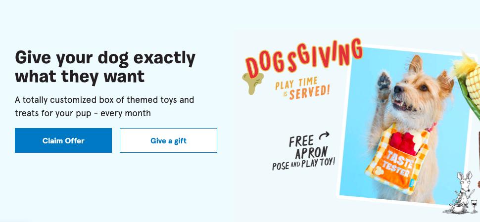 Bark Box CTA on Homepage with Dog