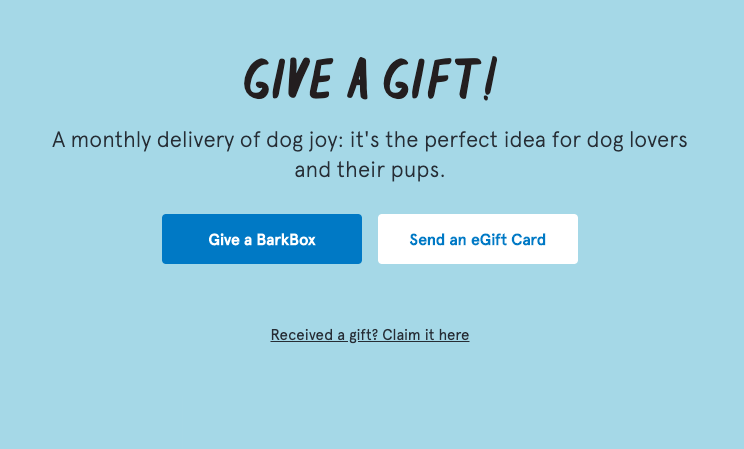 Bark Box Give a Gift CTA