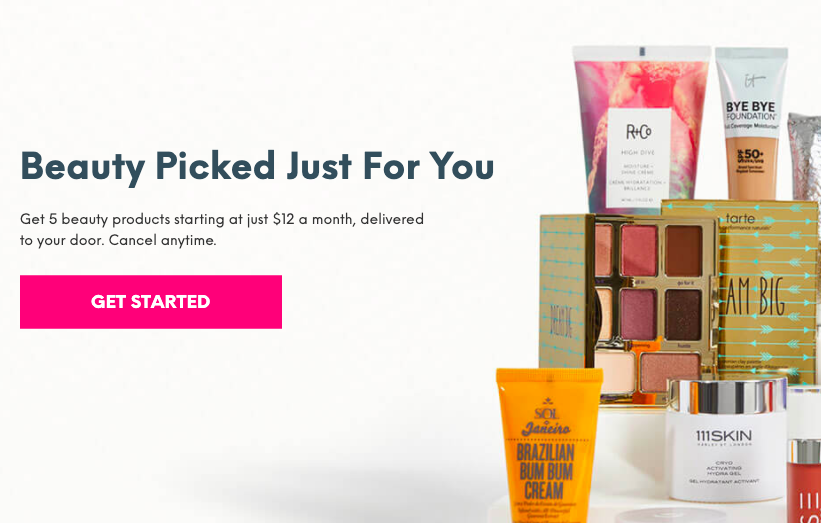 Beauty Products from Ipsy Website CTA